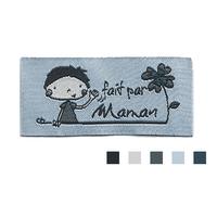 """Etiquette tissée Lalimaya """"fait par Maman"""" fond bleu"""