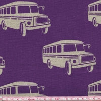 Tissu Echino Bus fond violet 20x110 cm