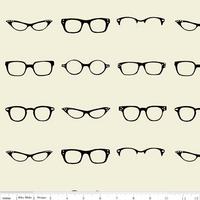 Tissu lunettes fond blanc cassé 20 x 110 cm