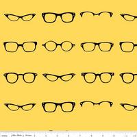 Tissu lunettes fond jaune 20 x 110 cm