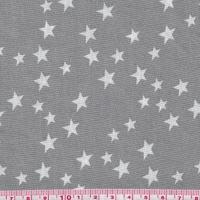 Popeline Star'z fond gris 20x140 cm