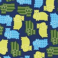 Tissu Hippopotames coloris Royal 20x110 cm