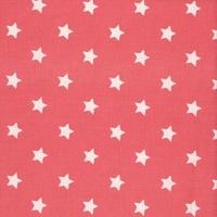 Toile enduite étoiles fond corail 20 x 140 cm