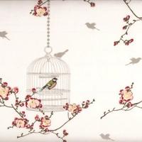 Toile enduite Cages à oiseaux romantique 20 x 140 cm