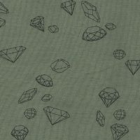 Ma rivière de diamants, jersey 100% coton kaki, 20 x 140 cm