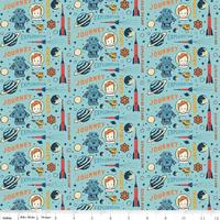 DERNIER COUPON Tissu Rocket Age Mini Captain fond bleu 60 x 110 cm