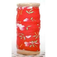 Biais Petit Pan Petite pivoine rouge 50cm
