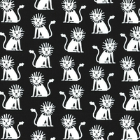 Tissu Lions fond noir 20 x 110 cm