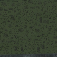 Tissu Tatouée pour la journée, gabardine stretch kaki 20 x 135 cm