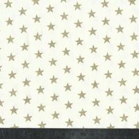 Popeline étoiles dorées fond crème 20 x 140 cm