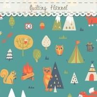 DERNIER COUPON Tissu flanelle Happy Camper ours et écureuil au coin du feu 65 x 110 cm