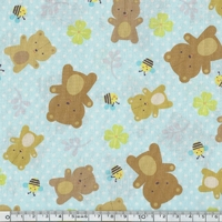 Coupon tissu ours 1m x 110 cm