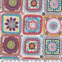 DERNIER COUPON Tissu Petit chaperon rouge granny squares 45 x 110 cm