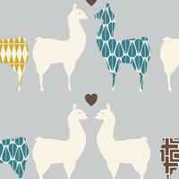 DERNIER COUPON Tissu Monaluna Lama love lama moutarde et bleu 85 x 110 cm