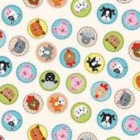 DERNIER COUPON Tissu Jolly Têtes d'animaux 45 x 110 cm
