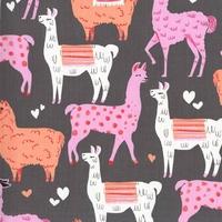 Tissu Lamas coloris pink 20 X 110 cm