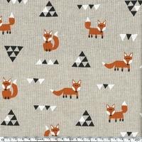 Tissu polycoton renard et triangles 20 X 140 cm