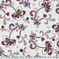 DERNIER COUPON Tissu fleur violette fond gris 1m25 x 110 cm