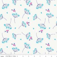 Tissu Wildflower Meadow pissenlit bleu fond blanc 20 X 110 cm