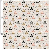 Jersey chevrons triangles doré et rose 20 x 160 cm