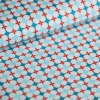 Popeline Granny's Tiles bleu 20 x 140 cm