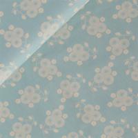 Popeline Flowerworks bleu clair 20 x 140 cm