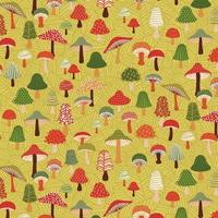 Tissu Forest Friends champignons vert kaki 20 x 110 cm