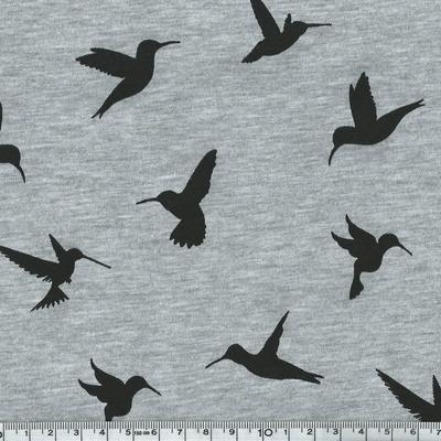 3628-15 jersey colibris fond gris chiné