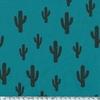 Cactus, poly/coton coloris émeraude 20 x 140 cm