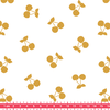 Cherries gold, poly/coton coloris chantilly 20 x 140 cm