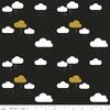 Tissu When skies are grey -  nuages fond noir 20 x 110 cm