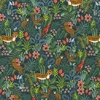 Tissu Rifle Paper Ménagerie Jungle Hunter fond vert 20 x 110 cm