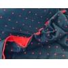 Jersey double marine cœurs rouge 20 x 150 cm