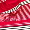 Panneau jersey 15 cm rouge uni / 5 cm rayé marine /  23 cm rayé rouge x 150 cm
