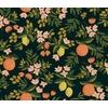 Tissu lin/coton Primavera oranges et citrons fond foncé 20 x 110 cm