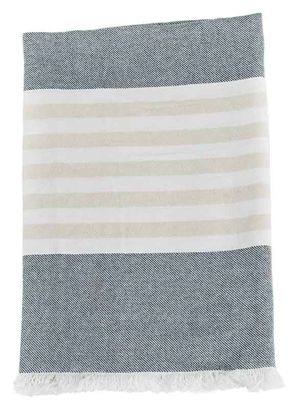 Serviette coton gris / sable