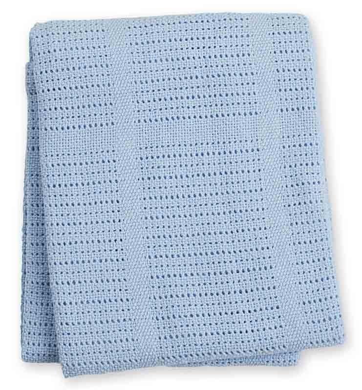 Couverture tricot bleue