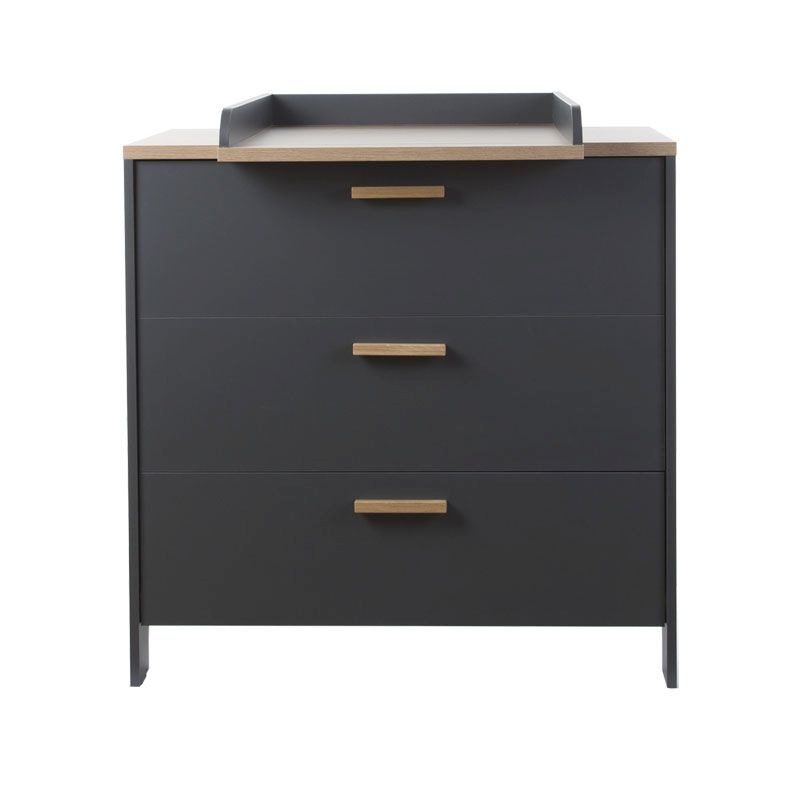 PARIS DARK OAK/ANTHRA COMMODE 3 TIROIRS + PLAN A LANGER