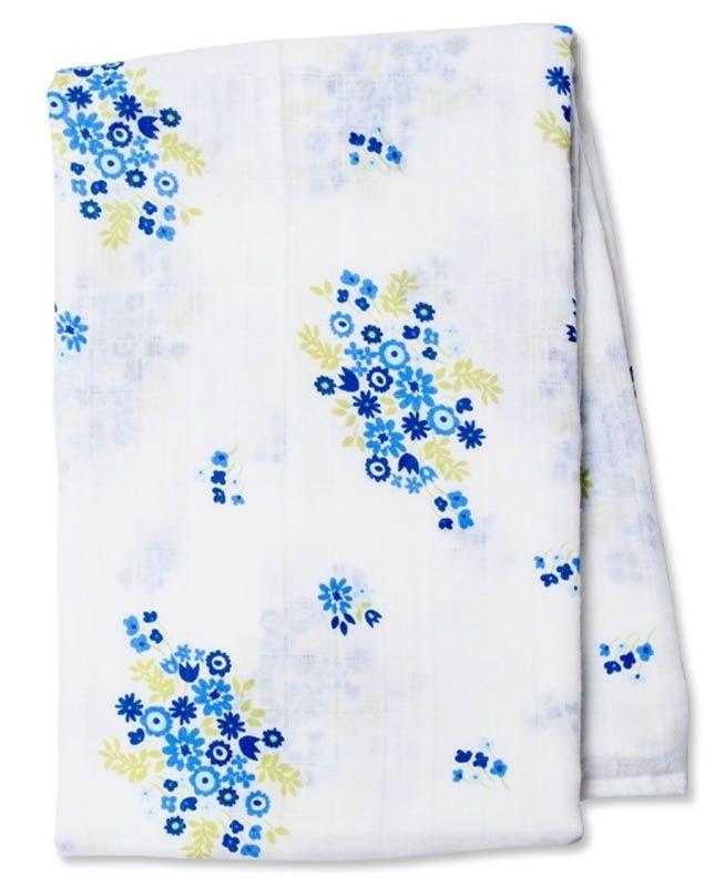 Lange Mousseline - bouquet bleu vintage