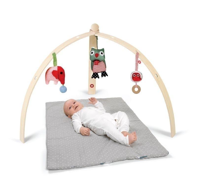 Portique d\'éveil pour bébé en bois naturel (vendu sans jouet).