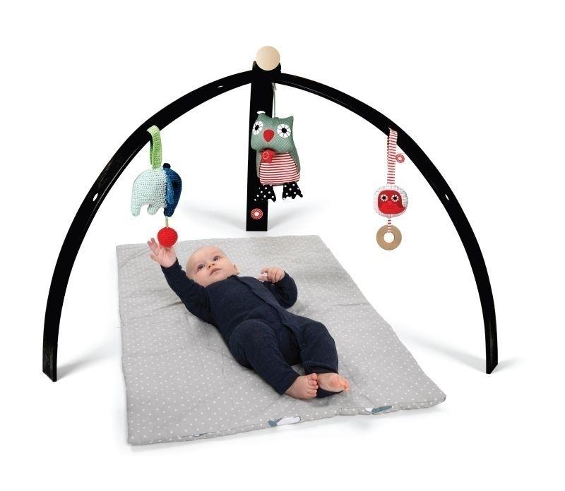 Portique d\'éveil pour bébé en bois peint noir (vendu sans jouet)