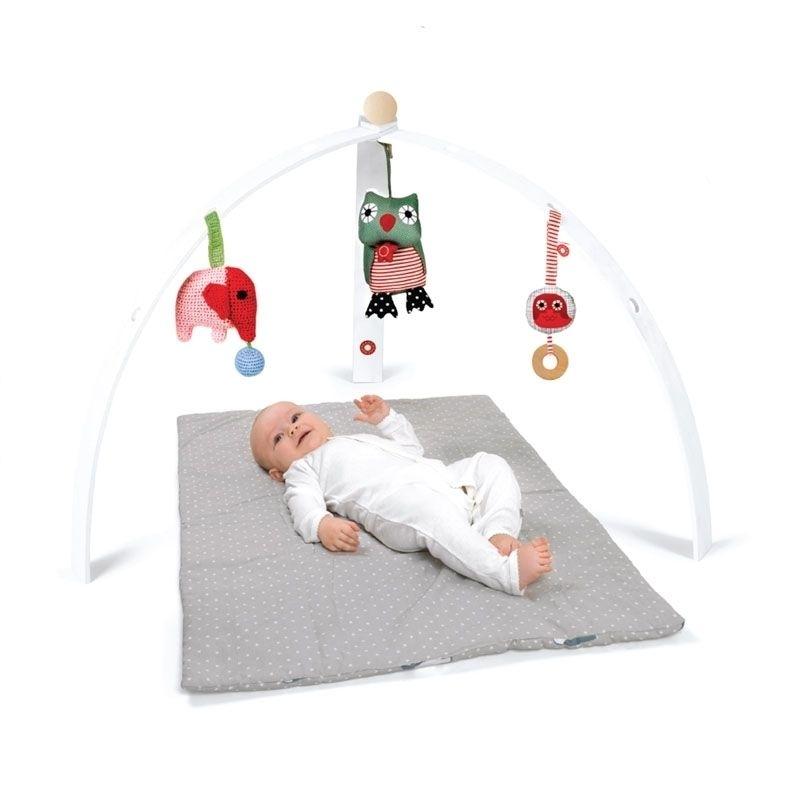 Portique d\'éveil pour bébé en bois peint blanc (vendu sans jouet)