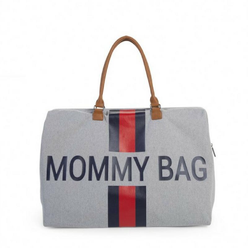 MOMMY BAG GRIS RAYE MARINE & ROUGE