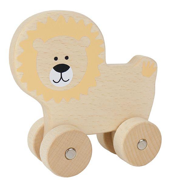 Lion en bois à roulettes