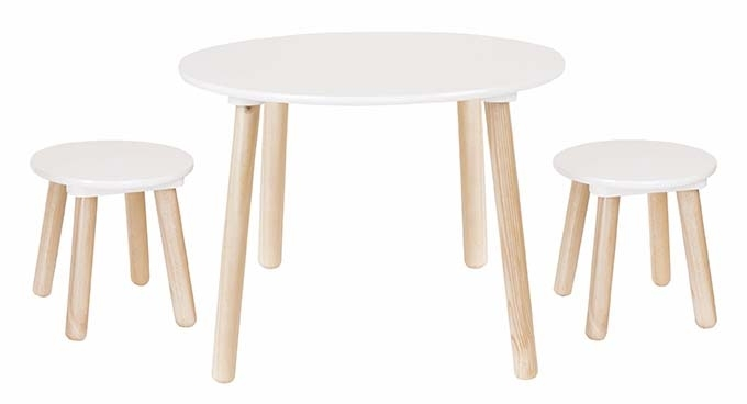 Table ronde 2 tabourets blancs