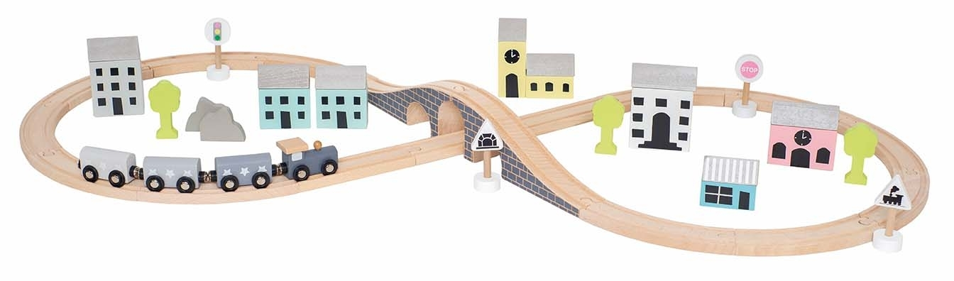 Coffret circuit train en bois