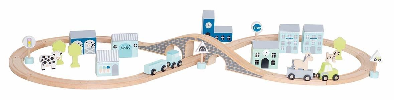 Coffret circuit voiture en bois bleu