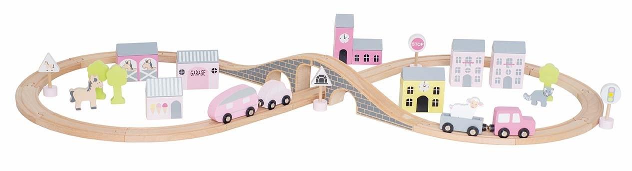 Coffret circuit voiture en bois rose