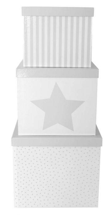 Set 3 boîtes cubes grises