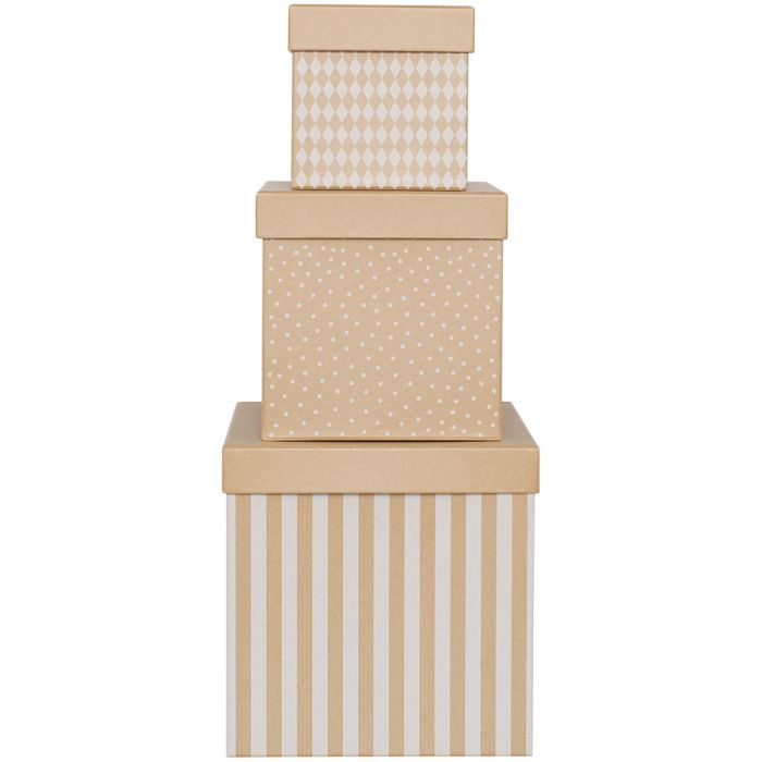 Set 3 boîtes cubes naturelles